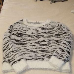 Mudd Fuzzy Zebra Sweater